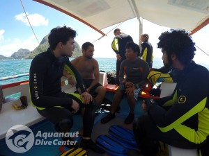 PADI Advanced Open Water Diver course. Sebastian attending a dive site briefing.